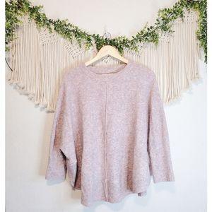 LOU & GREY LOFT Purple Marled Knit Long Sleeve Crewneck Poncho Sweater sz L